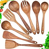Wooden Spoons for Cooking,Nonstick Kitchen Utensil Set,Wooden Spoons Cooking Utensil Set Non Scratch Natural Teak Wooden Utensils for Cooking(Teak 8 Pack)