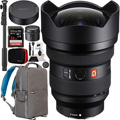 Sony FE 12-24mm F2.8 GM G Master Full Frame Ultra-Wide Zoom E-Mount Lens SEL1224GM for Mirrorless Cameras Bundle with Deco Gear Photography Backpack + Photo Video Monopod Stabilizer + Accessories Kit