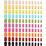 240 Pieces Square Press on Nails Medium False Nail Full Cover Artificial Fake Nail Colorful Acrylic Nail Tip Kit for Art Salon DIY (Mixed Color)
