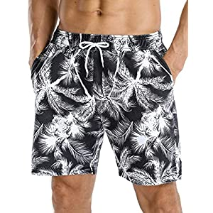 Nonwe Men's Swim Trunks Retro Soft Washed Drawstring Workout Shorts Men