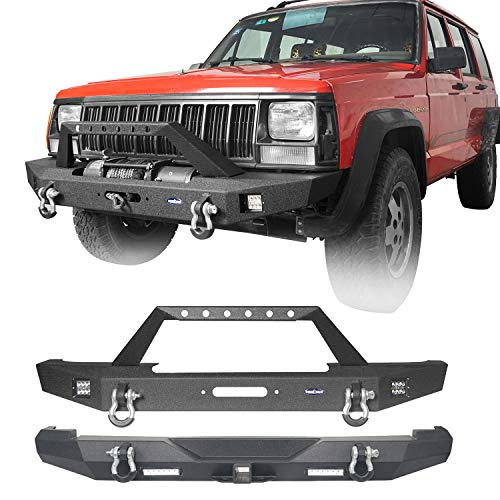 Hooke Road Cherokee XJ Metal Front Bumper and Rear Bumper Combo Compatible with Jeep Cherokee XJ 1984-2001