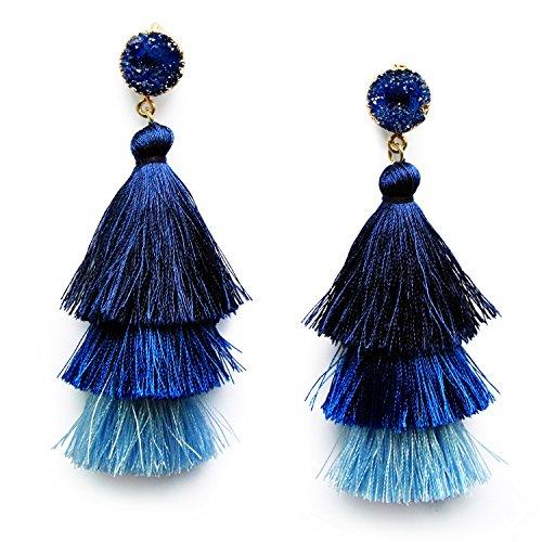 Blue Ombre 3 Layer Tiered Thread Tassel Earrings Blue Tassel Dangle Drop Earrings for Women Teen Girls Sapphire Studs Birthday Party Valentines Gift