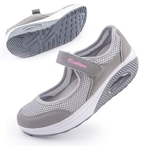 Women's Comfortable Working Nurse Shoes Non-Slip Adjustable Breathable Walking Buffer Fitness Casual Nursing Orthotic Shoes Arthritis, Diabetes Heel Pain, Foot Pain, 38 Grey