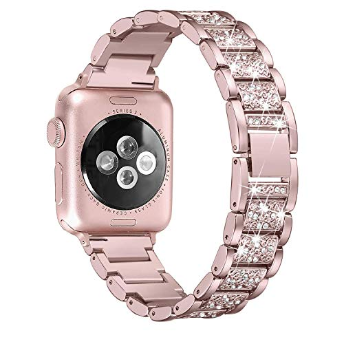 Myada Cinturino per Apple Watch 42mm Acciaio, Cinturino Apple Watch Series 4 44mm Braccialetto di Ricambio in Acciaio Inossidabile Orologio da Polso Band Donna per iWatch Series 4/3/2/1 - Rosa