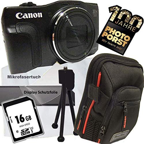 1A Photo PORST Jubiläumsangebot Canon Powershot SX710 HS schwarz Digitalkamera+SD 16 GB Speicherkarte+Tasche+Display-Schutzfolie+Mini Stativ+Mikrofasertuch