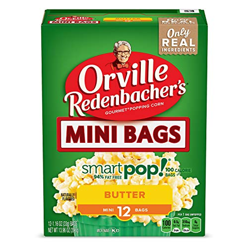 Orville Redenbachers Smart Pop Butter Microwave Popcorn 94% Fat Free (12 Count of 1.16 oz bags each), 13.96 oz