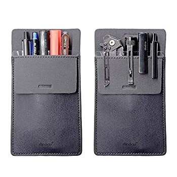 Pocket Protector Leather Pen Pouch Holder Organizer for Shirts Lab Coats Hold 5 Pens New Design to Keep Pens Inside When Bend Down No Breaking of Pen Clip Thick PU Leather Navy 2 Per Pack.