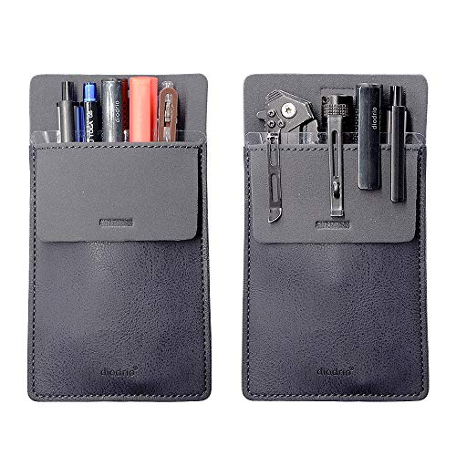 Pocket Protector, Leather Pen Pouch Holder Organizer, for Shirts Lab Coats, Hold 5 Pens, New Design to Keep Pens Inside When Bend Down. No Breaking of Pen Clip. Thick PU Leather, Navy, 2 Per Pack.