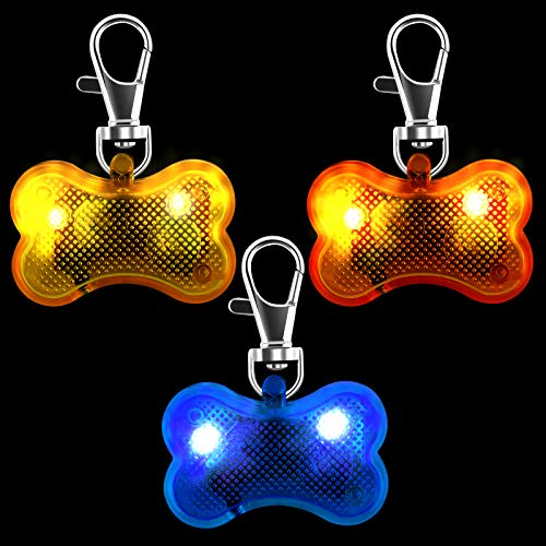 Aodaer 3 Pieces LED Lights Pendant for Dogs Collar Bone LED Dog Tag Glow in The Dark Waterproof Dogs Collar ID Tags for Dogs Night Time Walking Camping Pet Safety Night Walking Lights