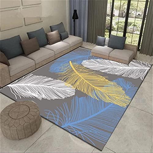 alfombra juvenil dormitorio alfombra habitación matrimonio Sala de estar Maqueta de cristal de cristal de cristal Patrón de plumas duraderas suelo exterior terraza 180X280CM 5ft 10.9'X9ft 2.2'