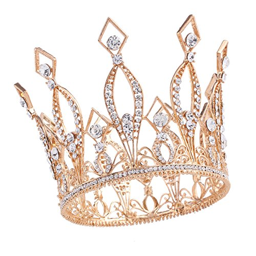 Santfe 4' Height Luxury Full Crown Clear Rhinestone Crystal Silver/Gold Plated Tiara Pageant Bridal Prom Wedding Crown (Gold-3)