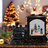 DRomance Christmas Musical Snow Globe Lantern Battery Operated with 6 Hour Timer, Snowman Lighted Snow Globe Train Spinning Water Swirling Glitter Christmas Decoration Gifts(10.6 x 4.3 x 8.3 Inches)