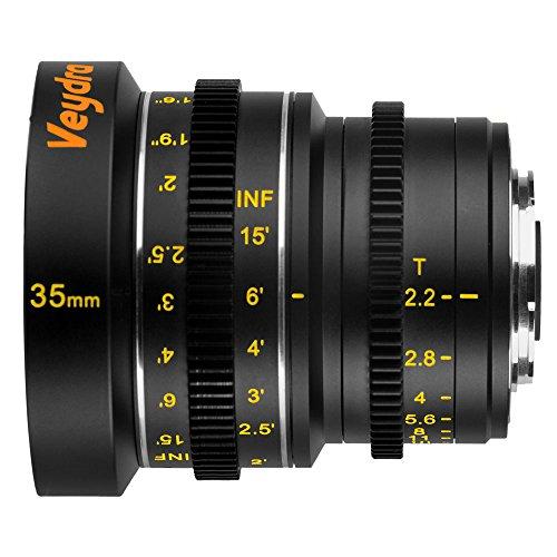 Veydra V1-35T22M43I Mini Prime 35mm T2.2 Imperial Cinema Lens with Manual Focus, Black
