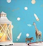 NEWROOM Kindertapete Beige Rakete Ufo Weltraum Papiertapete Blau Papier Kindertapete Kinderzimmer Babytapete Kinder