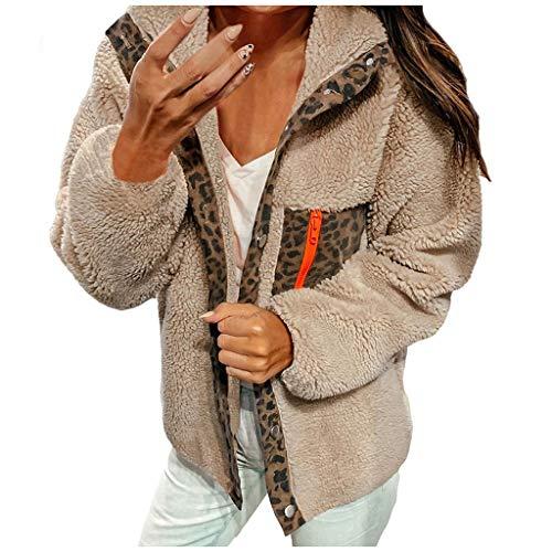 Xmiral Jacke Damen Leopard Spleiß Umlegekragen Taste Mantel Plüsch Kapuzenjacke Slim Fit Langarm Strickjacke Sweatjacke Sweatshirt(Khaki,M)