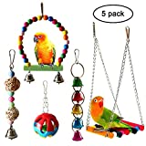 QUMY 5pcs Bird Parrot Toys Hanging Bell Pet Bird Cage Hammock Swing Toy Wooden Hanging Perch Toy for Small Parakeets Cockatiels, Conures, Macaws, Parrots, Love Birds, Finches (A)