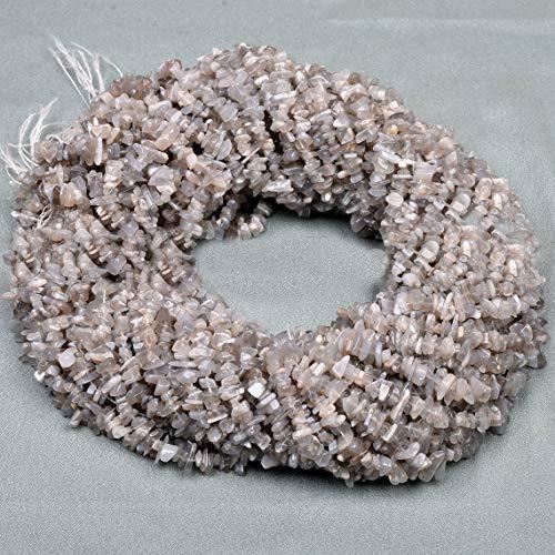 Shree_Narayani Cuentas sueltas de piedra lunar gris de calidad AAA, 4-5 mm suaves Nuggets Tumble Chips Briolettes 34 pulgadas para hacer joyas, collares, pulseras, pendientes, manualidades, 1 hebra