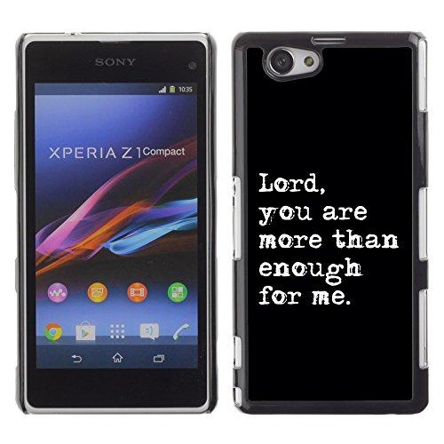 DREAMCASE Bibelzitate Bild Hart Handy Schutzhülle Schutz Schale Case Cover Etui für Sony Xperia Z1 Compact D5503 - Herr, mehr als genug fur mich sind Sie