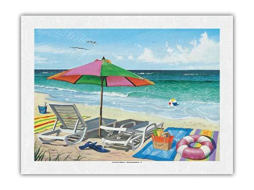 Pacifica Island Art Navegando a través - Sillas de Playa, sombrilla y Vista al mar - De Pintura en Color de Scott Westmoreland - Impresión de Arte Papel Premium de Arroz Unryu 46x61cm