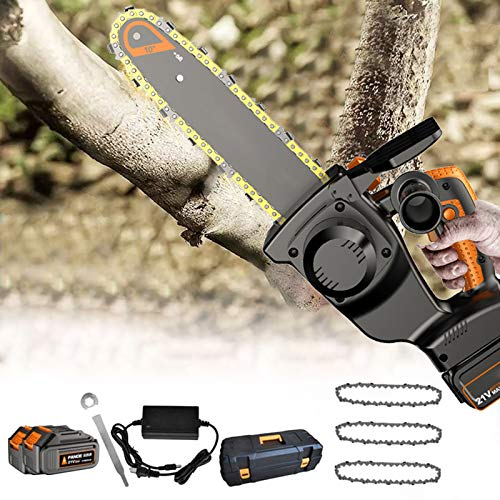 Mini Electric Chainsaw, 10/12-inch Cordless Electric Portable Chainsaw with Charger and Batteries, One Hand Chainsaw for Garden Bush Tree Branch Pruning Shears Wood Cutting,12 inch 2 battery,33800mh