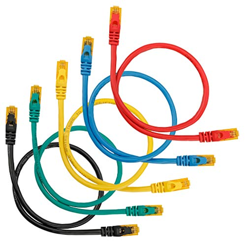 SEBSON Ethernet Kabel 0,5m CAT 6, Gigabit LAN Patchkabel, 1000Mbit/s, U-UTP Netzwerkkabel, RJ45 Stecker für Router, PC, SMART TV, NAS, 5er Set bunt