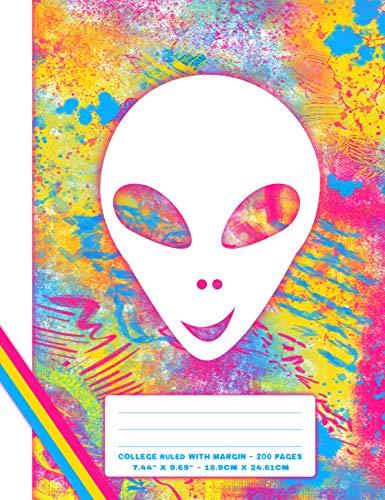Fun & Funky Graffiti Street Style Composition Notebook: Composition Notebook - College Medium Ruled with Margin - Alien Face (English Edition)