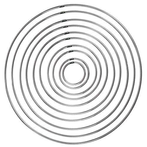 Amaoma Aros para Atrapasueños Anillos de Metal Aros de Metal para Atrapasueños 10 Piezas Anillo de Alambre Artesanal Plateado 4.5/5 / 6.5/8/10/12/14/16/18/19 cm para Atrapasueños y Artesanías