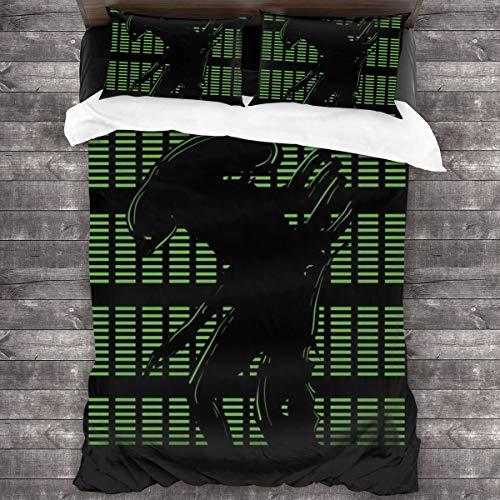 KUKHKU Green Davids Creation Alien Covenant, juego de cama de 3 piezas, funda de edredón de 86 x 70 pulgadas, Queen decorativa de 3 piezas con 2 fundas de almohada