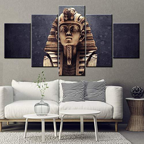 rkmaster-Leinwand Malerei Porträt Altägyptischen Farat König Retro 5 Stücke Wandbild Kunst Malerei Modulare Tapete Poster Drucken Dekoration