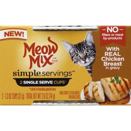 Meow Mix Simple Servings 2 Single Cups in 1 Pack with Real Chicken Breast in Gravy (Pack of 4-2 Individual Servings Total of 8 Single Servings)