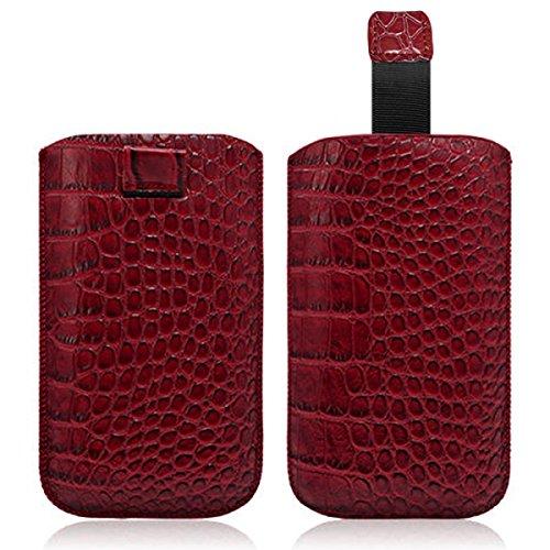 Seluxion–Carcasa con tirador estilo cocodrilo color rojo para Sony Xperia M/Xperia Z1Compact/Xperia L