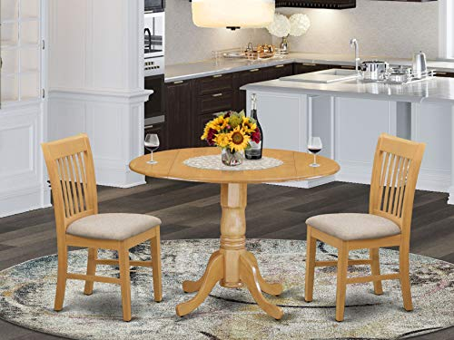 East West Furniture DLNO3-OAK-C 3-Piece dinette set Oak finish- Two 9-inch Drops Leave and Pedestal Legs kitchen dining table & 2 Slatted Back wood dining chairs