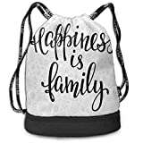 nbvnc Cinch-TascheTurnbeutelDrawstring Backpacks Bags Happiness is Family Hand Writing Inspirational...