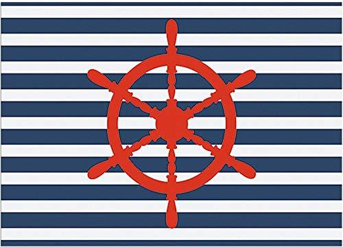 Matches21 - Felpudo decorativo con diseño de timón, rayas azules y blancas, estilo marítimo, antideslizante y lavable, 1 unidad, 50 x 70 cm