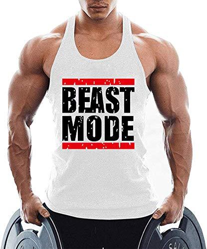 TX Apparel Canotta da Uomo Fitness Stringer Beast Mode Senza Maniche Gym Shirt Musica Shirt Bianco M