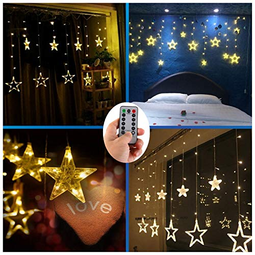 AA Batteries Operated Curtain Lights with Remote,138 LED 12 Star Window Wall Icicle String Lights,8 Mode,Timer,Dimmable,Ideal for Outdoor Wedding Birthday Bar Camping Barbecue Party Decoration
