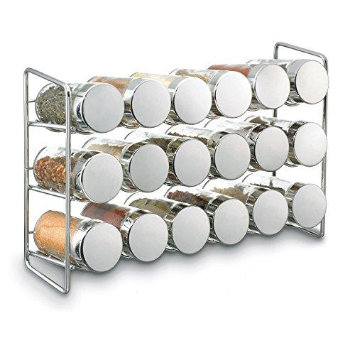Polder Compact - Estante para especias (18 tarros, 29,5 x 8,6 x 19,1 cm, cromado)