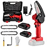 MKSENSE Mini Chainsaw, 4-Inch Electric Chainsaw Handheld Mini Pruning Shears Chainsaw for Tree Trimming Wood Cutting (2 Battery & 2 Chain &1 Box & Installation Tool)