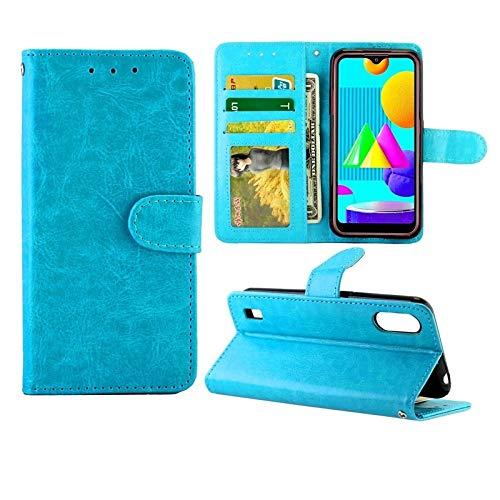 Xyamzhnn Funda telefónica para Samsung Galaxy M01 Crazy Horse Texture Cuero Horizontal Flip Funda Protectora con Soporte y tragamonedas y Billetera y Marco de Fotos (Color : Baby Blue)
