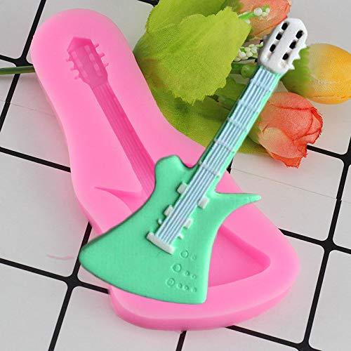 JUNGEN 1pcs moule silicone 3D Mini Musical Instruments Guitar(rose)