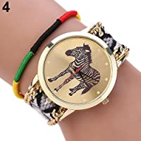 Sanwooddeals レディース ガールズ 馬描き 腕時計レザーブレスレットタイプ ウォッチ (4)