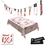NULIPAM Halloween Bloody Decorations, Set Include Knife Hanging Banner, Blood Splatter Tablecloth, Scar Tattoo, Warning Strip for Halloween Decor Party