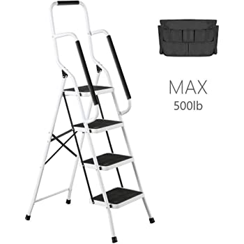 charaHOME 4 Step Ladder Tool Ladder Folding Portable Steel Frame MAX 500 lbs Non-Slip Side armrests Large Area Pedals Detachable ToolBag Suitable for Home Office Engineering