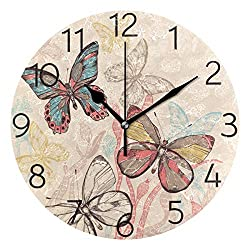 AGONA Colorful Flying Butterflies Wall Clock, Art Wall Clocks Battery Operated Non Ticking Silent Wall Clock Decorative for Living Room Decor Kitchen Kids