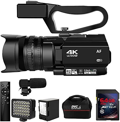 ビデオカメラ4KウルトラHD 48MPビデオカメラYouTube 30XデジタルズームIRナイトビジョンビデオカメラ 手持ちスタビライザー付き360°ワイヤレスリモコン64G SDカード付き日本語取扱説明書
