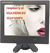 cocopar8 Inches Car Rearview Backup Camera Monitor DVD VCR TFT LCD Screen Display High Resolution 1024768 IPS with HDMI VGA AV Input, Remote and Stand for Raspberry pi 2 Model B Raspberry pi B+ B