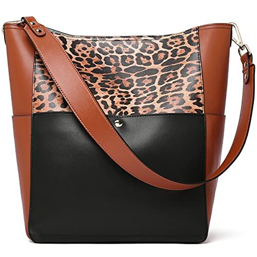BOSTANTEN Bolso de mano de piel para mujer, bolso de hombro, bolso de diseño, grande, leopardo, L (L)26.3x (B)15 x (H)32.3cm.
