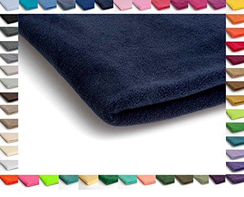 Telas Polar tela de lana, prendas de punto 200 g/m² - Disponible en una variedad de colores - 50 x 160 cm (Azul Marino)