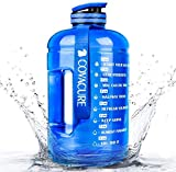 Covacure 1 Gallon Water Bottle with Time Marker - Reusable 360°Leak-Proof Drinking Water Jug for...