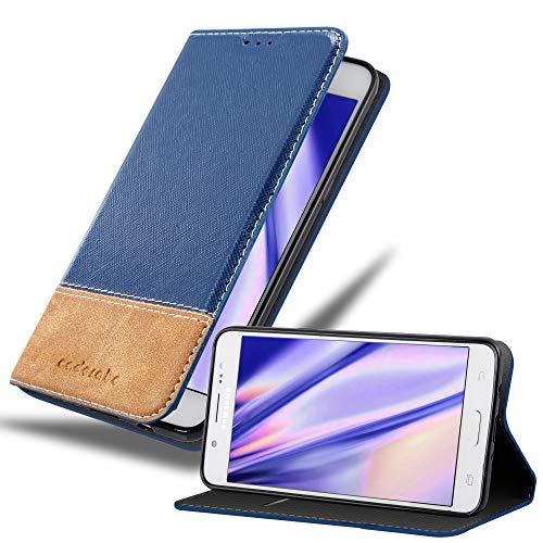 Cadorabo Hülle für Samsung Galaxy J5 2016 in DUNKEL BLAU BRAUN – Handyhülle mit Magnetverschluss, Standfunktion & Kartenfach – Hülle Cover Schutzhülle Etui Tasche Book Klapp Style